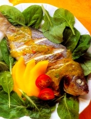 warm-fish-salad-with-mango-dressing