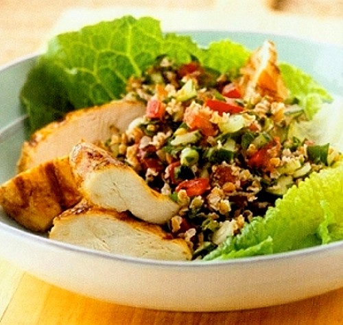 Mediterranean Tabbouleh Salad with Chicken