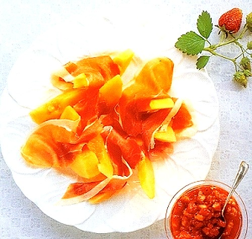 Melon and Prosciutto Salad with Strawberry Salsa Recipe