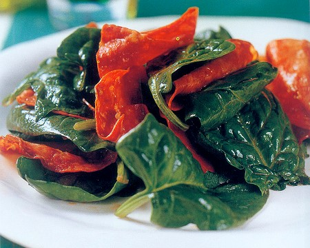 warm chorizo and spinach salad