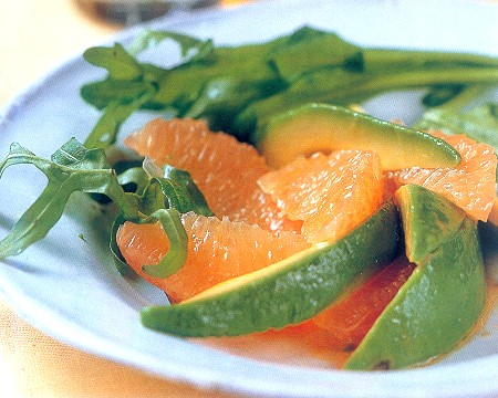 pink grapefruit and avocado salad