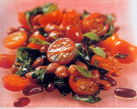 tomato, bean and fried basil salad